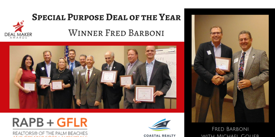 Coastal Realty Advisors' Fred Barboni receiving award